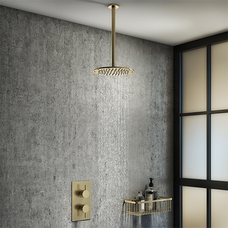 Arezzo Brushed Brass Round Shower Package with Concealed Valve + Ceiling Mounted Head