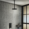 Arezzo Matt Black Round Shower Package with Concealed Valve + Ceiling Mounted Head profile small image view 1