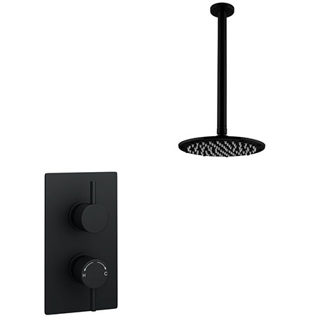 Arezzo Matt Black Round Shower Package with Concealed Valve + Ceiling Mounted Head