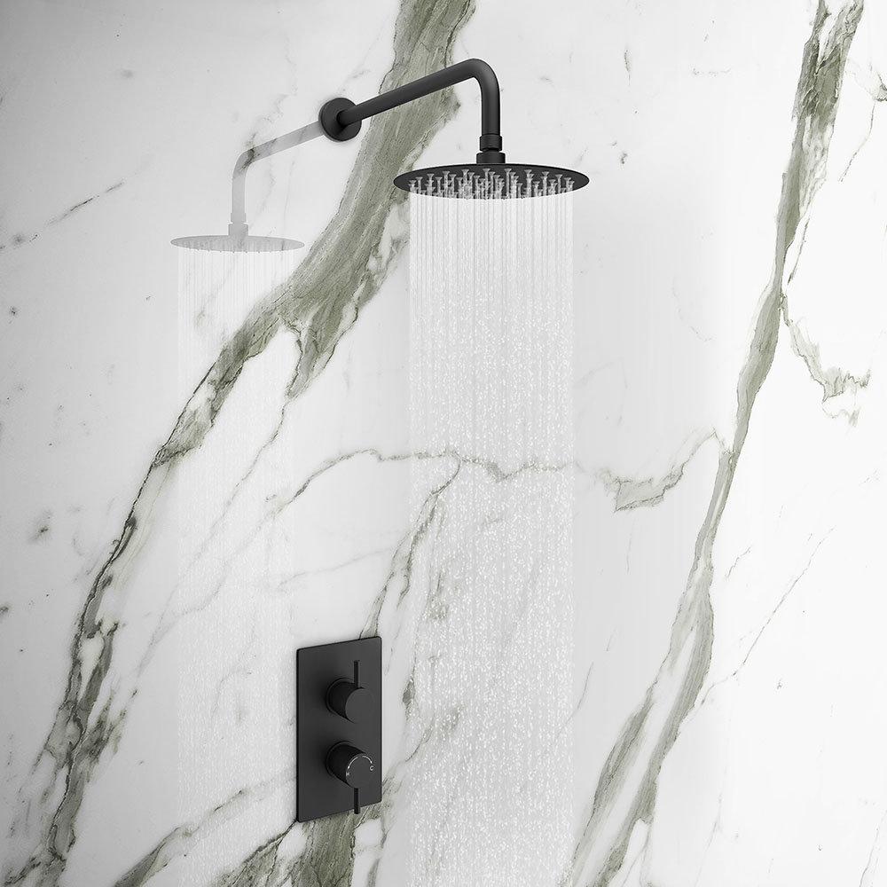Arezzo Matt Black Round Shower Package with Concealed Valve + Head - Arezzo Showers