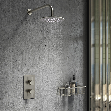 Arezzo Brushed Gunmetal Grey Round Shower Package with Concealed Valve + Head