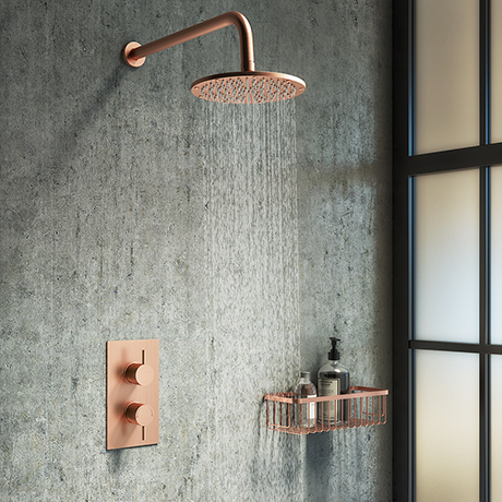 Arezzo Rose Gold Round Shower Package with Concealed Valve + Head