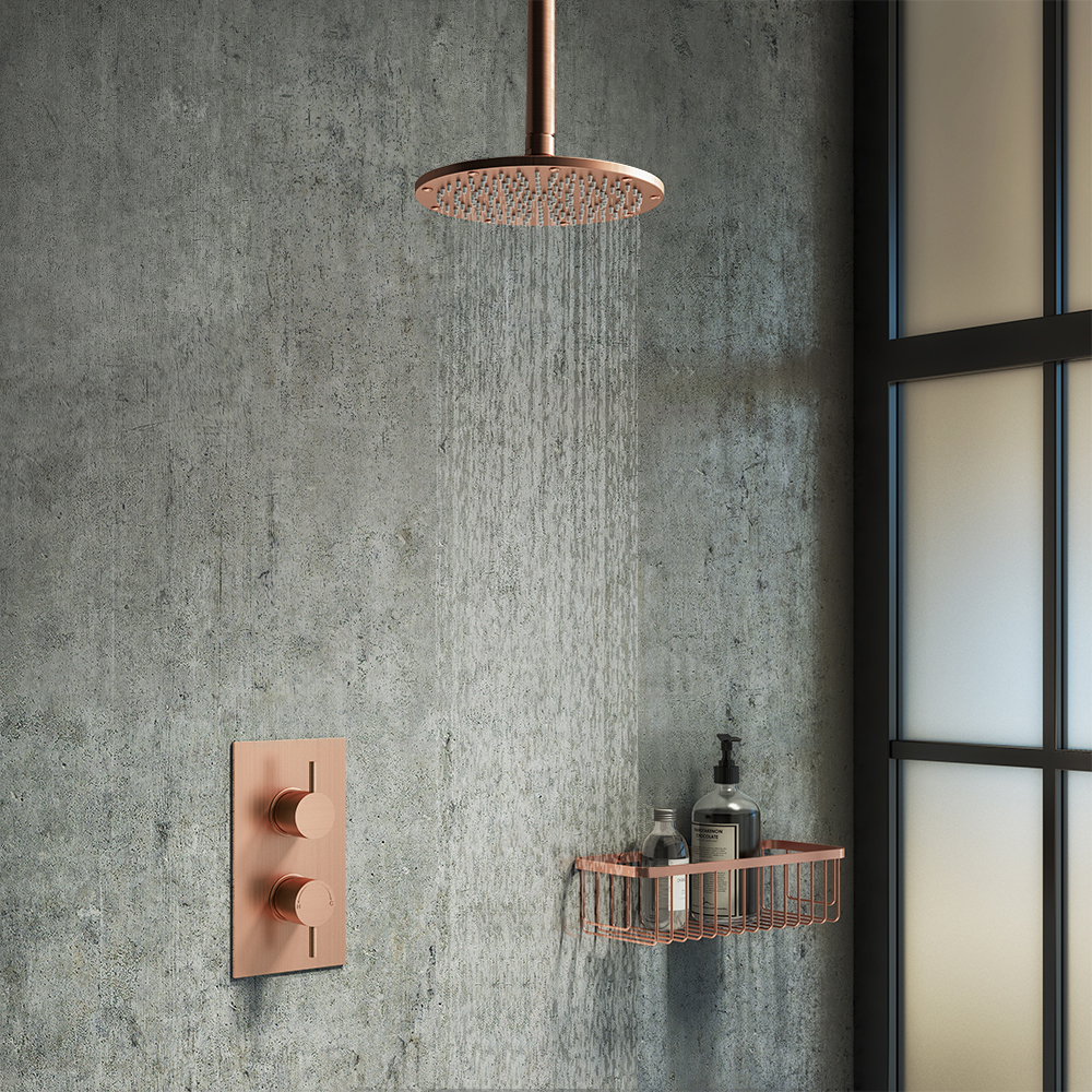 Arezzo Rose Gold Round Shower Package with Concealed Valve + Ceiling Mounted Head