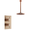 Arezzo Rose Gold Round Shower Package with Concealed Valve + Ceiling Mounted Head profile small image view 1