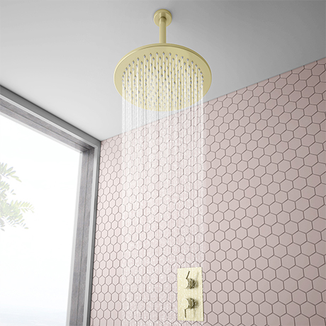 Arezzo Brushed Brass Twin Concealed Shower Valve inc. 300mm Head + 200mm Ceiling Mounted Arm