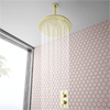 Arezzo Brushed Brass Twin Concealed Shower Valve inc. 300mm Head + 200mm Ceiling Mounted Arm profile small image view 1