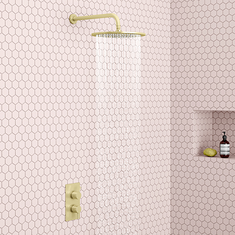 Arezzo Brushed Brass Round Shower Package with Concealed Valve + 300mm Head