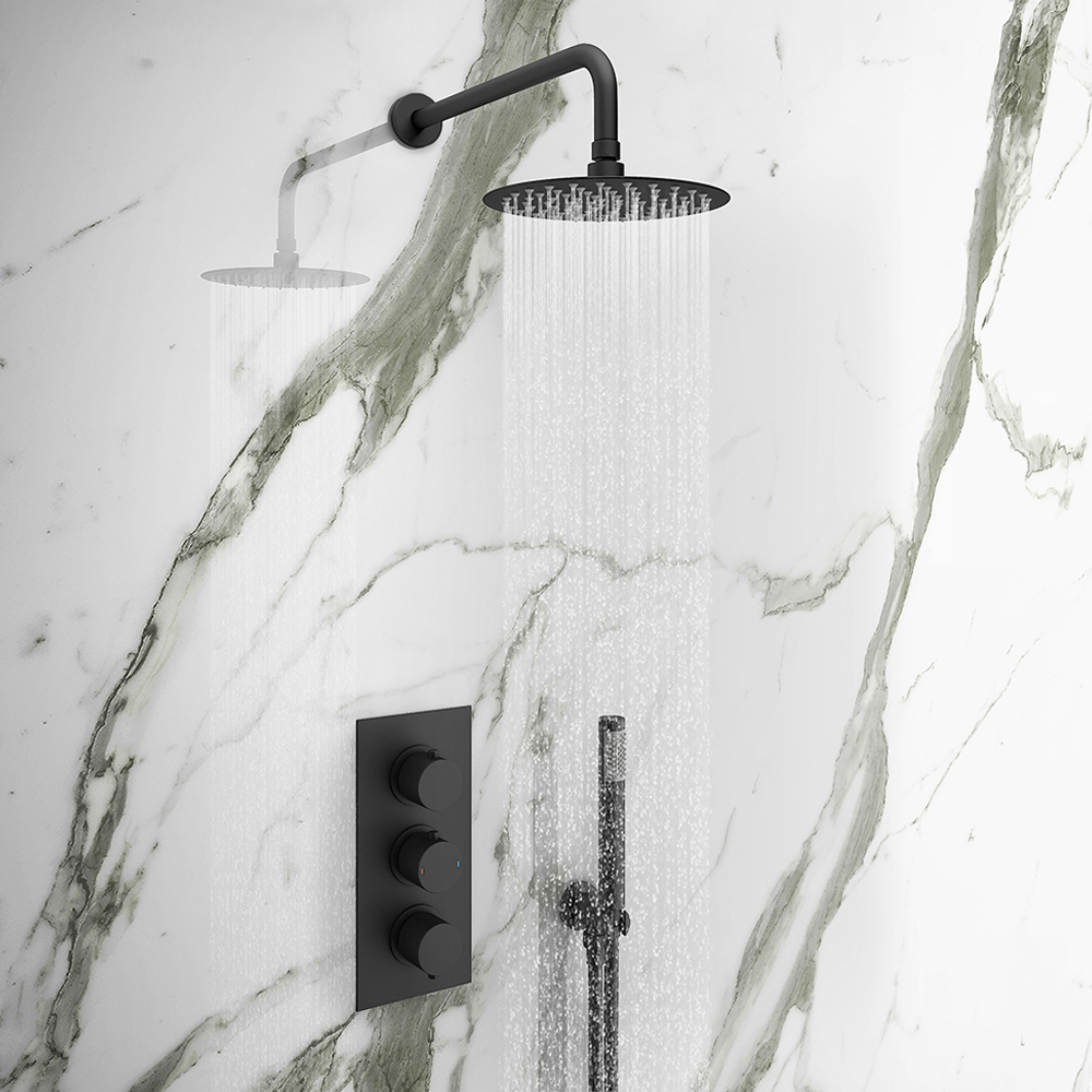 Arezzo Matt Black Round Triple Thermostatic Shower Pack with Head + Handset