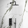 Arezzo Matt Black Round Triple Thermostatic Shower Pack with Head + Handset profile small image view 1