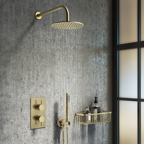 Arezzo Brushed Brass Round Thermostatic Shower Pack with Head + Handset
