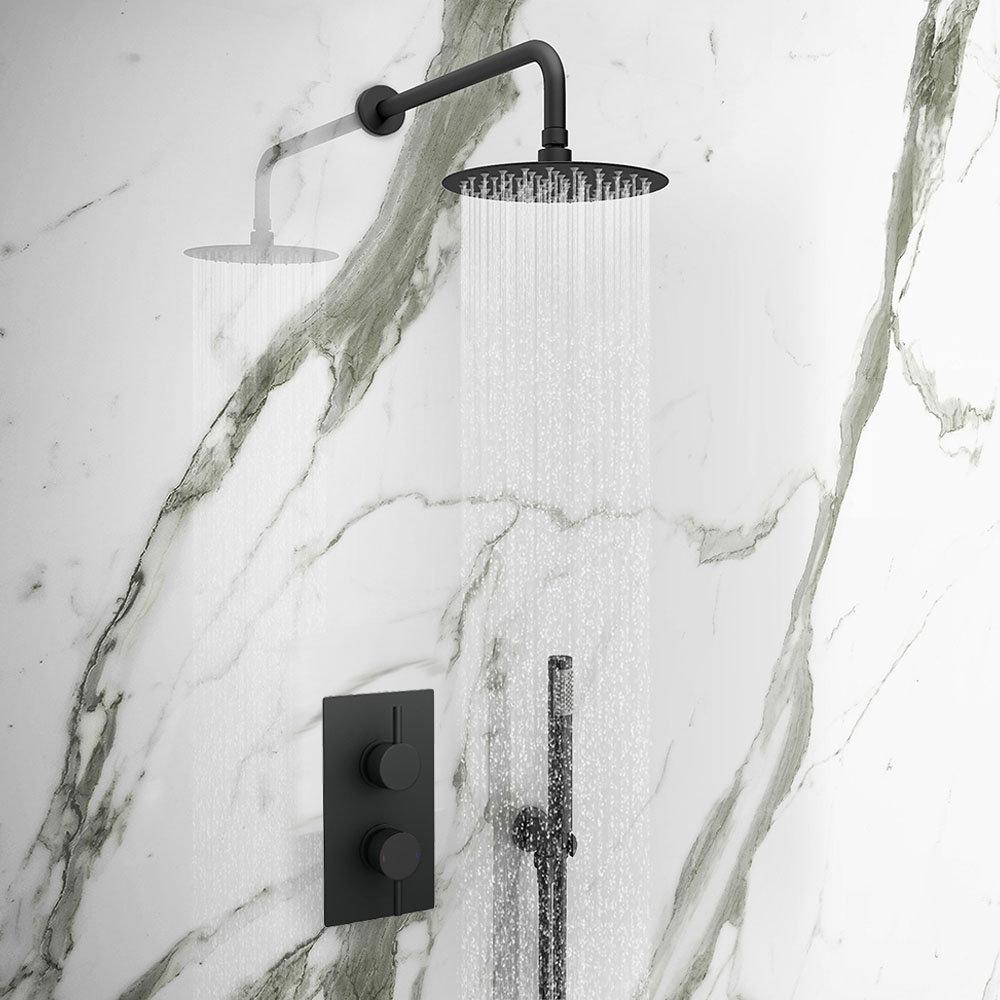 Arezzo Matt Black Round Thermostatic Shower Pack with Head + Handset