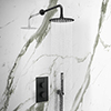 Arezzo Matt Black Round Thermostatic Shower Pack with Head + Handset profile small image view 1