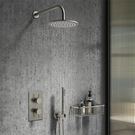 Arezzo Gunmetal Grey Round Thermostatic Shower Pack with Head + Handset