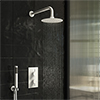 Arezzo Matt White Round Thermostatic Shower Pack with Head + Handset profile small image view 1