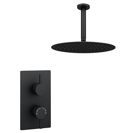 Arezzo Matt Black Round Shower Package with Concealed Valve + 300mm Ceiling Mounted Head