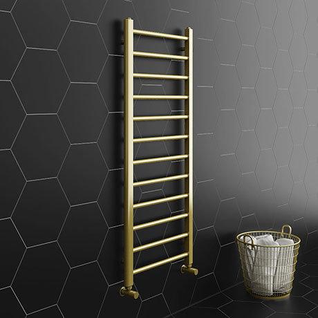 Brooklyn 1200 x 500mm Brushed Brass Straight Heated Towel Rail
