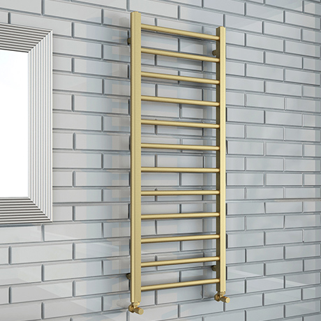 Brooklyn 1200 x 500mm Brushed Brass Straight Heated Towel Rail