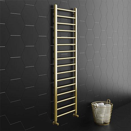 Brooklyn 1600 x 500mm Brushed Brass Straight Heated Towel Rail
