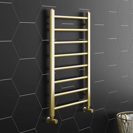 Brooklyn 800 x 500mm Brushed Brass Straight Heated Towel Rail