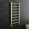 Brooklyn 800 x 500mm Brushed Brass Straight Heated Towel Rail profile small image view 1