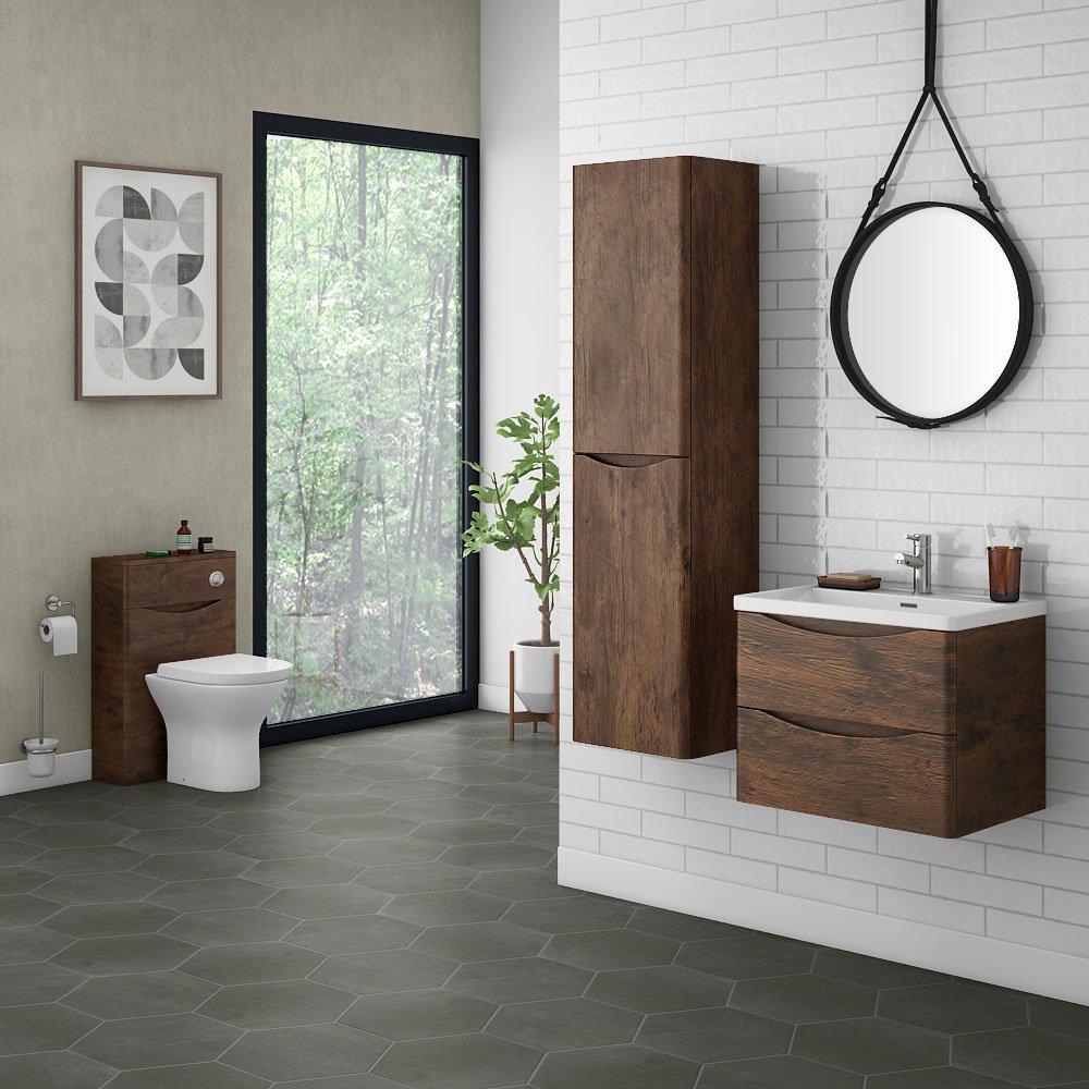 Ronda Chestnut Wall Hung Bathroom Furniture Package