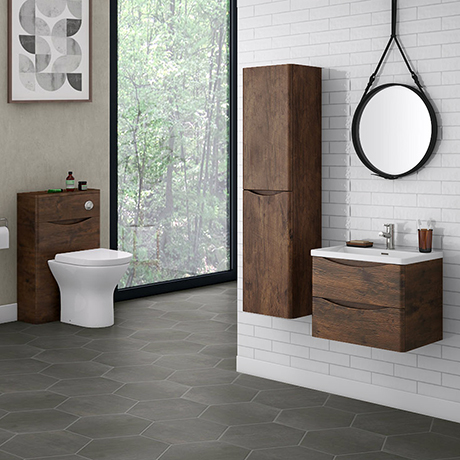 Ronda Chestnut Wall Hung Bathroom Furniture Package