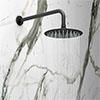 Arezzo Round 200mm Matt Black Fixed Shower Head + Wall Mounted Arm profile small image view 1