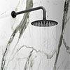 Arezzo Round 200mm Matt Black Fixed Shower Head + Wall Mounted Arm profile small image view 1
