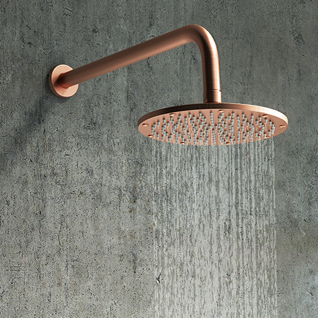 Arezzo Round 195mm Rose Gold Fixed Shower Head + Wall Mounted Arm