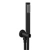 Arezzo Round Matt Black Outlet Elbow with Parking Bracket, Flex & Handset profile small image view 1
