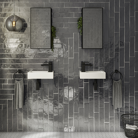 Rondo Double Wall Hung Basin Package with Matt Black Square Taps + Bottle Traps