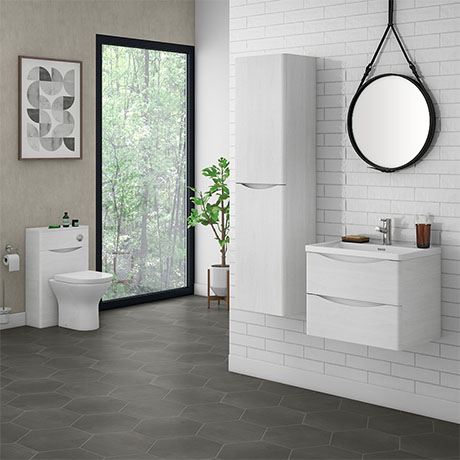 Ronda White Ash Wall Hung Bathroom Furniture Package