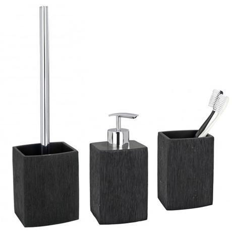 Wenko recife bathroom accessories set black at victorian for Victorian bathroom accessories set