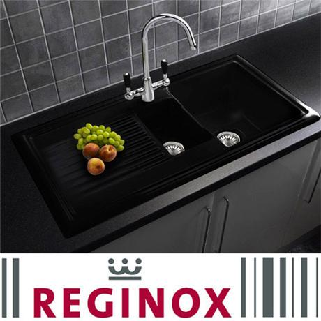 Reginox Traditional Black Ceramic 1.5 Kitchen Sink and Brooklyn Mixer Tap