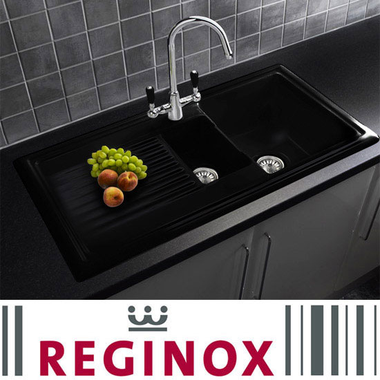 Reginox Traditional Black Ceramic 1.5 Kitchen Sink + Brooklyn Mixer Tap profile large image view 1