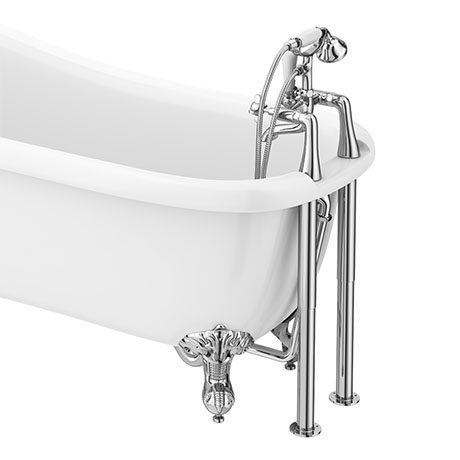 Regent Traditional Bath Shower Mixer Tap with Adjustable Shrouds for Roll Top Baths