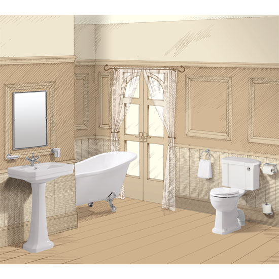 Burlington Traditional Regal 5 Piece Bathroom Suite Large Image