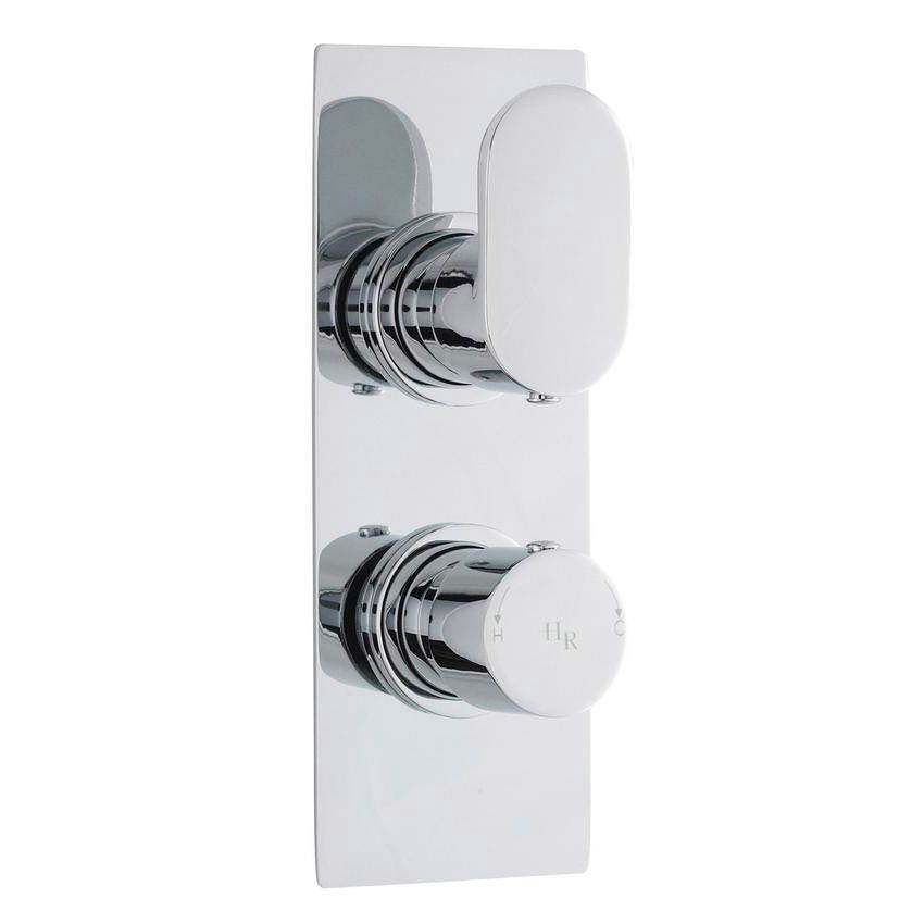 Hudson Reed Reign Twin Concealed Thermostatic Shower Valve w/ Diverter - Square Plate - REI3207 profile large image view 1