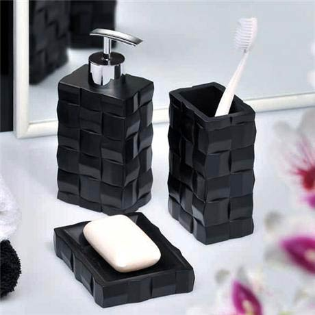 wenko relief bath accessories set black