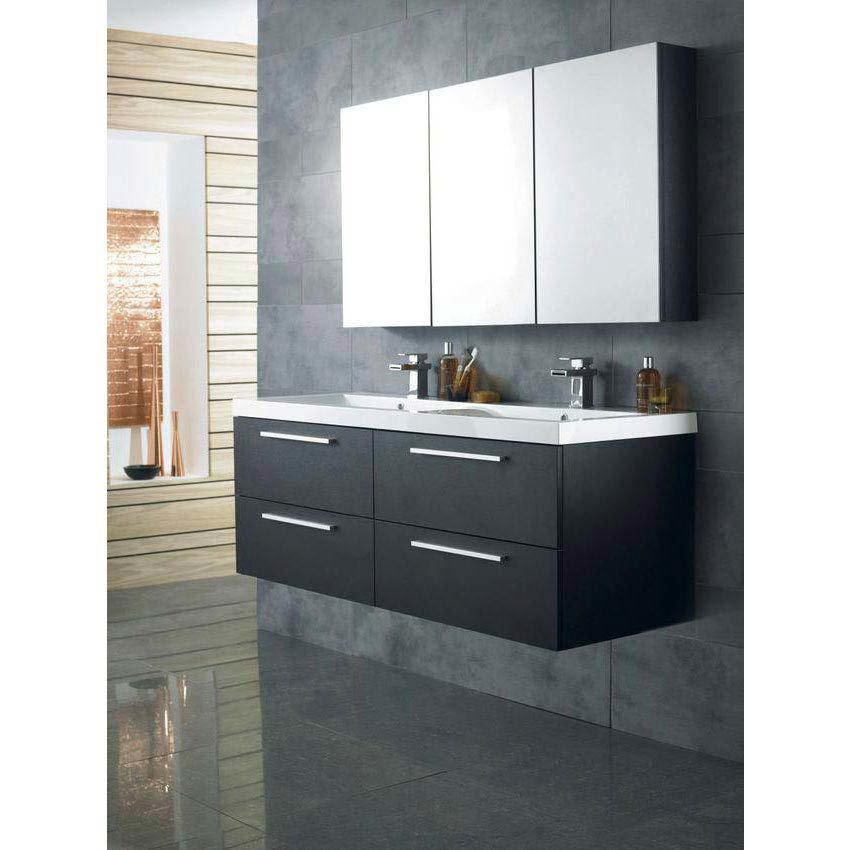 Hudson Reed Quartet Double Basin & Cabinet W1440 x D510mm - Black Wood - RF015 Feature Large Image