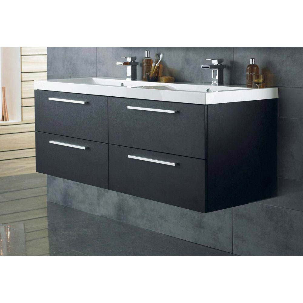 Hudson Reed Quartet Double Basin & Cabinet W1440 x D510mm - Black Wood - RF015 Large Image