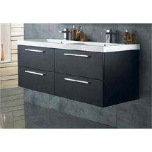 Hudson Reed Quartet Double Basin & Cabinet W1440 x D510mm - Black Wood - RF015 Medium Image