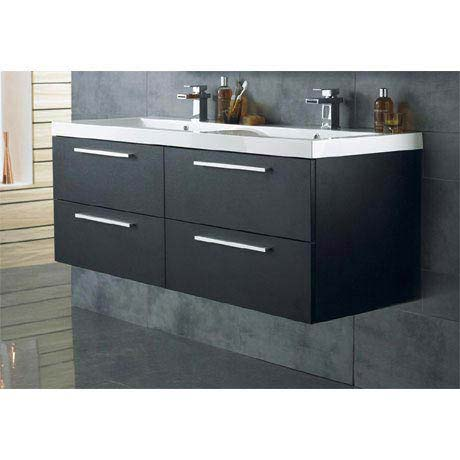 Hudson Reed Quartet Double Basin & Cabinet W1440 x D510mm - Black Wood - RF015