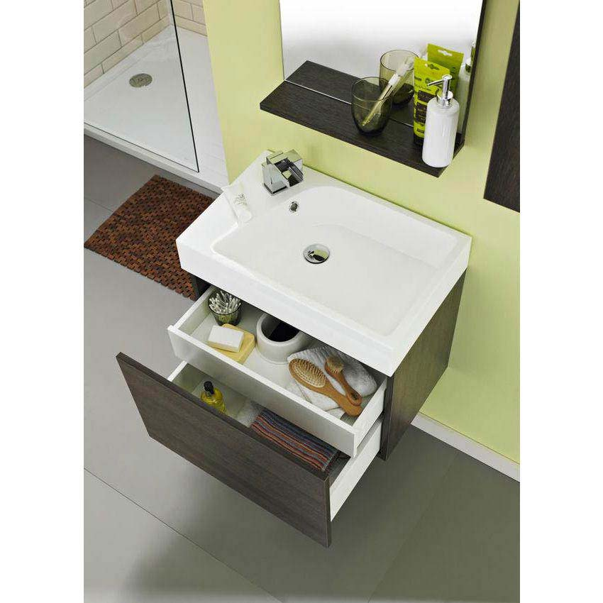Ultra Zone 600mm Wide Basin and Cabinet - Oak Finish - RF019 profile large image view 2