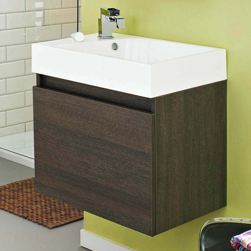 Ultra Zone 600mm Wide Basin and Cabinet - Oak Finish - RF019 Large Image
