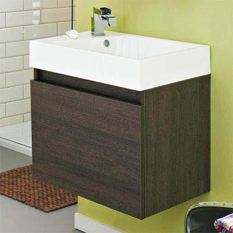 Ultra Zone 600mm Wide Basin and Cabinet - Oak Finish - RF019
