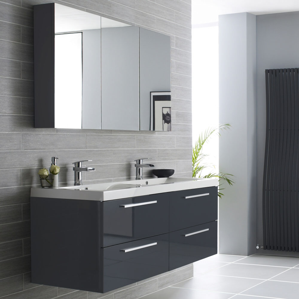 Hudson reed quartet furniture pack high gloss grey rf035 at victorian plumbing uk - Bathroom cabinets black gloss ...