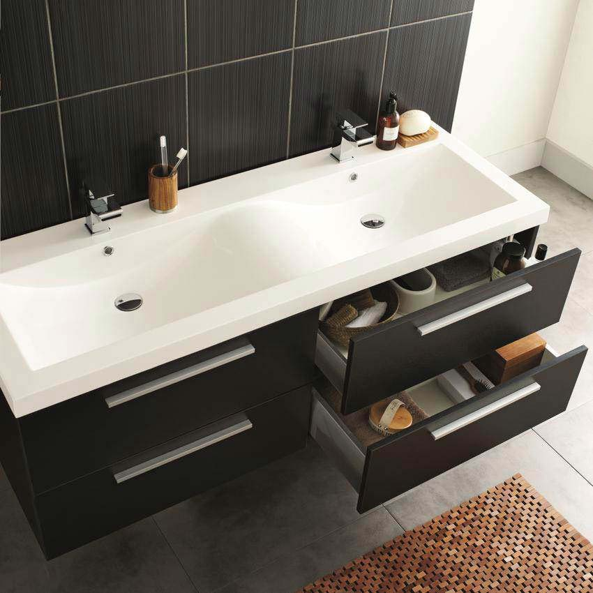 Hudson Reed - Quartet Double Basin Vanity Unit - High Gloss Grey (1440mm Wide) Profile Large Image