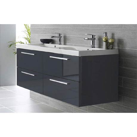 Hudson Reed - Quartet Double Basin Vanity Unit - High Gloss Grey (1440mm Wide)