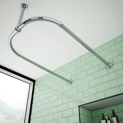 Chatsworth Traditional 1200 x 700mm Chrome U Shaped Shower Curtain Rail
